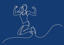 Continuous line drawing of happy jumping woman athlete. Vector linear illustration vector illustration
