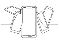 Continuous line drawing of isolated vector object - bunch of mobile phones. Vector linear illustration royalty free illustration