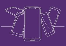 Continuous line drawing of isolated vector object - bunch of mobile phones. Vector linear illustration vector illustration