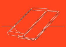 Continuous line drawing of isolated vector object - two modern mobile phones. Vector linear illustration stock illustration