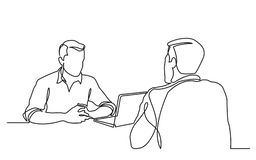 Continuous line drawing of job interview between two men. Vector linear monochrome style image stock illustration