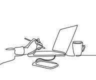 Continuous line drawing of laptop computer coffee. Continuous line drawing. Laptop computer with cup of coffee and hand with pen, phone. Vector illustration Stock Photo