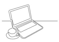 Continuous line drawing of laptop computer cup of tea. Vector linear monochrome style illustration stock illustration