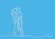 Continuous line drawing of loving couple Stock Image