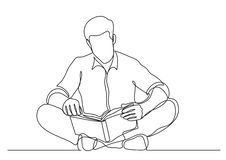 Continuous line drawing of man sitting on floor reading book. Vector linear monochrome illustration stock illustration