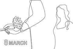 Man giving women a flower. Continuous line drawing. 8 March celebration concept stock illustration