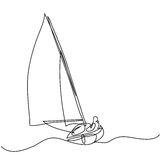 Continuous Line Drawing Of Sailboat With Captain Royalty Free Stock Photos