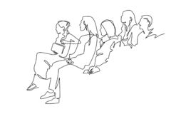 Free Continuous Line Drawing Of Vector Illustration Character Of Audience In The Conference Hall Royalty Free Stock Images - 154593189