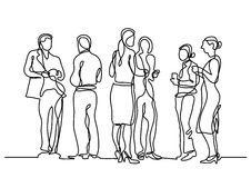 Continuous line drawing of office party Stock Image