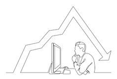 Continuous line drawing of office worker concentrated behind computer with decreasing graph. Vector linear monochrome style illustration vector illustration