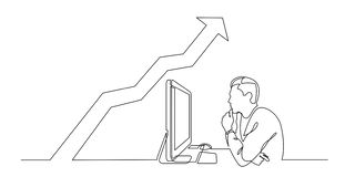 Continuous line drawing of office worker concentrated behind computer with increasing graph. Vector linear monochrome style illustration vector illustration
