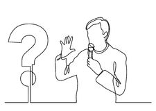 Continuous line drawing of presenter speaking about a question Stock Image
