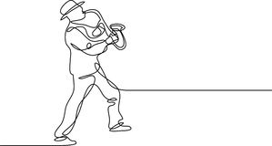 Continuous line drawing of saxophone player. Continuous line drawing - isolated layered easy-edit vector illustration in EPS10 format vector illustration