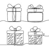 Continuous line drawing set of Gifts box . New Year and Happy Christmas theme stock illustration