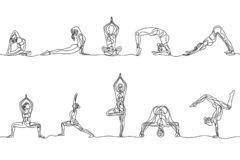 Continuous one line drawing set of woman yoga poses. Vector royalty free illustration