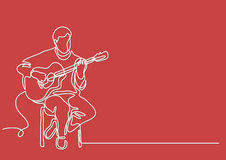 Continuous line drawing of sitting guitarist playing guitar. Continuous line drawing - isolated layered easy-edit vector illustration in EPS10 format Stock Photos