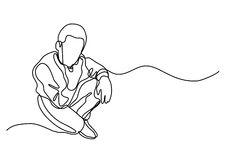 Continuous line drawing of sitting man Stock Image