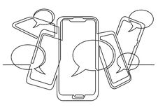 Continuous line drawing of social media on mobile phones. Vector linear illustration royalty free illustration