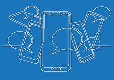 Continuous line drawing of social media on mobile phones. Vector linear illustration vector illustration