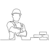 Standing builder man holding tablet. Continuous line drawing. Standing builder man near brick wall. Vector illustration on white background royalty free illustration