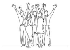 Continuous line drawing of standing office team cheering waving hands royalty free illustration