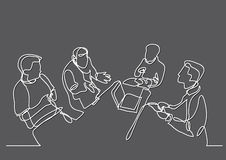 Continuous line drawing of team discussion. Continuous line drawing - isolated layered easy-edit vector illustration in EPS10 format Stock Photos