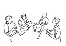 Continuous line drawing of team discussion vector illustration