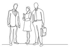 Continuous line drawing of three business professionals standing confident. Vector linear monochrome illustration royalty free illustration
