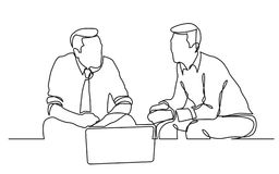 Continuous line drawing of two businessmen sitting and talking. Vector linear monochrome style image stock illustration