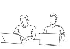 Continuous line drawing of two coworkers working on laptops stock illustration