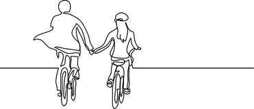 Continuous line drawing of two cyclists. Continuous line drawing - isolated layered easy-edit vector illustration in EPS10 format Royalty Free Stock Photo