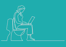 Continuous line drawing of woman sitting on toilet seat with com Stock Photography
