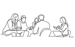 Continuous line drawing of work team having meeting. Vector linear monochrome style image royalty free illustration