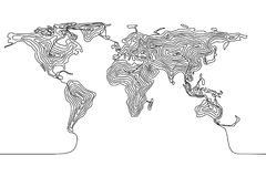 Continuous line drawing of a world map, single line Earth. Continuous line drawing of a world map, single line flat Earth concept, template or icon Stock Images