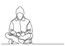 Continuous line drawing of young man sitting with mobile phone Royalty Free Stock Image