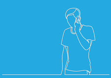 Continuous line drawing of young man talking on mobile phone Royalty Free Stock Photography