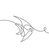 Continuous line Exotic fish logo Stock Photos