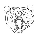 Continuous line fury bear head, snarling bear. Vector illustration. vector illustration