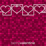 Continuous line heart Valentine's Day card Royalty Free Stock Images