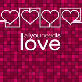 Continuous line heart Valentine's Day card Stock Photography