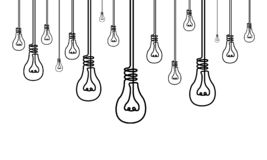 Continuous line a lot of light bulbs, many ideas, creativity concept stock illustration