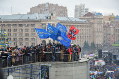 Continuous mass protest in the Ukrainian capital Royalty Free Stock Photography