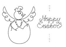 Continuous one line art drawing Easter chicken in egg vector illustration