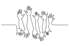 Abstract Hands Up Continuous one line drawing royalty free illustration