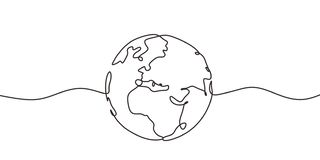 Free Continuous One Line Drawing Of Earth. Concept Of Globe With Circle Hand Drawn Royalty Free Stock Photo - 167036365