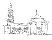 Continuous one line drawing of Town Hall and ancient well. In the old town of Kamenets Podolsky in Ukraine, modern art vector illustration Stock Images