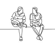Continuous one line drawing of two men sit and talk. In modern minimalistic style, vector illustration vector illustration