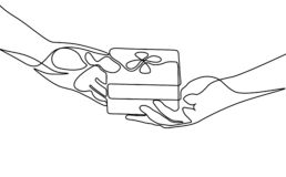 Continuous one line give a gift. Vector illustration. royalty free illustration