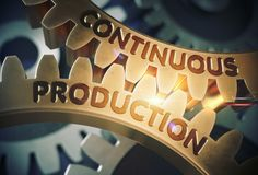 Continuous Production on Golden Cog Gears. 3D Illustration. stock photos