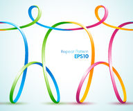 Continuous  ribbon figures holding hands Royalty Free Stock Photography